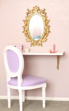 """Perfect """"Vanity"""" for a Big Girl Room - just use a pretty wall shelf with gold brackets, a fun mirror and sweet chair. Ta-da!"""