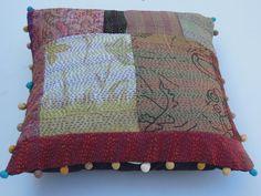 Handmade Silk Sari Kantha Patchwork Cushion Cover by Labhanshi, $22.00