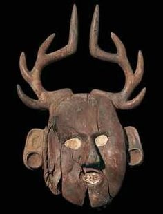 Deer mask; Oklahoma, LeFlore County, Spiro, Craig Mound; 1200-1400 A.D.; red cedar and marine shell, 11 1/2 x 6 1/4 inches; Smithsonian Institution, National Museum of the American Indian, Washington, D.C.