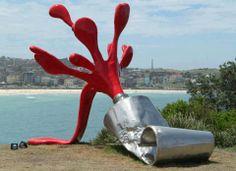 Claes Oldenburg Sculpture on the Shore. 3d Street Art, Street Art Graffiti, Land Art, Sea Sculpture, Sculptures By The Sea, Food Sculpture, Outdoor Sculpture, Claes Oldenburg, Outdoor Art