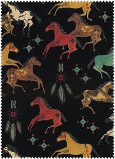 """5530 """"Dream Catcher,"""" Black, Running, Horses, Windham Fabrics, Cotton"""