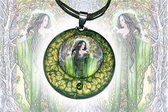 Green metal pendant  Queen of Earth elf goddess elven art