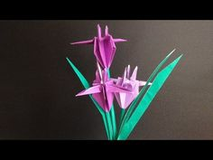 Origami And Kirigami, Origami Paper, Asian Crafts, Origami Ideas, Flower Video, How To Make Origami, Paper Folding, Quilling, Iris