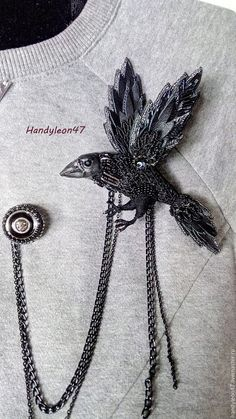 Beaded Brooch Raven