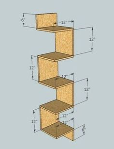 This is a design for a corner shelf made of plywood. Mason's room