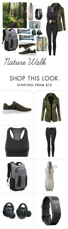 """""""Green & Grey- Hiking"""" by forever-young-and-beautiful ❤ liked on Polyvore featuring NIKE, LE3NO, Topshop, Everest, Samsung and Fitbit"""