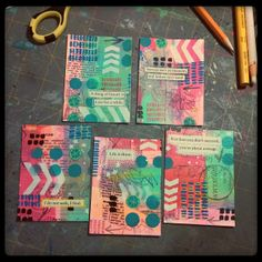 Completed masterboard artist trading cards. The...