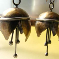 Musical Bell Flower Earrings Brass And Sterling Silver Mixed Metal Artisan Metalwork Jewelry