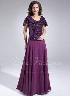 A-Line/Princess Cowl Neck Floor-Length Chiffon Sequined Mother of the Bride Dress With Ruffle (008006100)