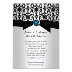 Black Silver Damask Turquoise Wedding Invitatio Custom Invitations