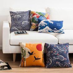 Japanese pattern of Mount Fuji contracted wind restoring ancient ways rural cotton and linen sofa cushion for leaning on of pill