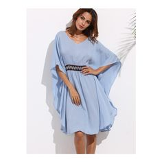 SheIn(sheinside) Blue Batwing Sleeve Tie Backless Dress (€14) ❤ liked on Polyvore featuring dresses, blue, beachy dresses, beach dresses, blue dress, viscose dresses and elbow sleeve dress