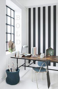 Hochwertig Wallpapers Büro Schreibtisch, Gestreifte Tapete, Tapezieren, Arbeitszimmer,  Wandgestaltung, Inneneinrichtung, Wohnzimmer