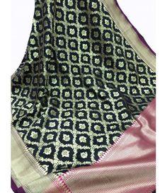 Black Pure Handloom Banarasi Georgette Silk Dupatta