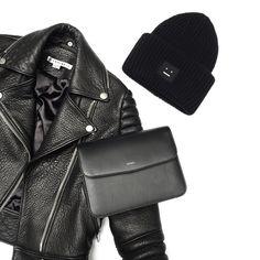 All black essentials. Flat lay via OVRSLO. #acnestudios #ovrslo #minimal