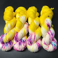 Approximately 231 yards/ 100 grams 100% Superwash Merino wool. Gauge: 21-24 Sts/4 in on US sized 5-7 This yarn is incredibly soft and bouncy, a dream to knit with. Great for socks, shawls, scarves sweaters or anything that uses DK or worsted weight yarn. Hand dyed with professional