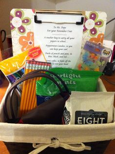 > Student teacher's first day teaching gift basket.  The poem reads: A teacher bag to carry all your papers to school, Peppermint candies so you can keep your cool.  Packs of pencils and pens in blue, black, and red, Some coffee so you can fight the need to rest your head.  A clipboard for a hard surface on which to write, and awesome fun stickers to bring students delight.  Welcome to teaching!""