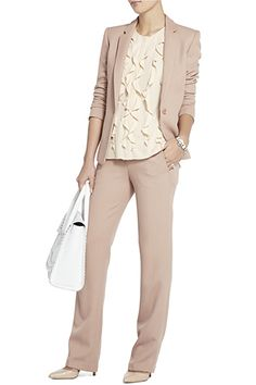 BCBGMAXAZRIA Kamryn Slim Classic Blazer, $248, available at BCBGMAXAZRIA; BCBGMAXAZRIA Cliff Slim Pant, $158, available at BCBGMAXAZRIA