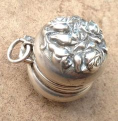 Antique Sterling Silver Thimble Holder Chatelaine Case Floral Charm