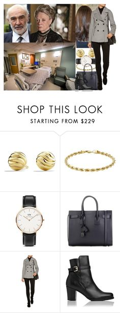 """""""Being seen arriving at the hospital with her grandmother"""" by maryofscotland ❤ liked on Polyvore featuring David Yurman, IBB, Daniel Wellington, Yves Saint Laurent, Belstaff and L.K.Bennett"""