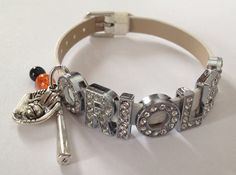 "Baltimore Orioles Inspired White Adjustable Bracelet w/ Beads & Baseball Bat and Glove Charms w/ ORIOLES Rhinestone Slider Letters 6 1/2""-8""..."