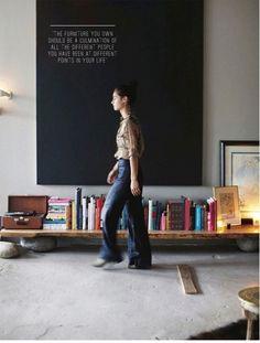 manhattan loft of andi potankim (photo by emily johnston anderson for rue magazine, october p. Low bookshelves for kids Low Bookshelves, Low Shelves, Bookshelf Bench, Shelving, Simple Bookshelf, Rustic Bookshelf, Tv Shelf, Art Et Design, Deco Design