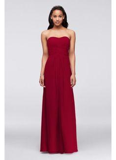 Long Strapless Chiffon Dress and Pleated Bodice F15555
