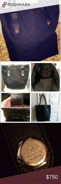 GUCCI Canvas Jacquard Signature GG Tote Shoulder Authentic Gucci tote in gorgeous condition. Black fabric with gold hardware. Mild signs of wear from previous use. Perfect size. Great bag for everyday. One interior slip pocket and one zip pocket. Comfortable double shoulder straps. Made in Italy. Gucci Bags Shoulder Bags