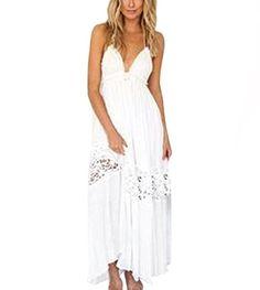 Bohemian Dress Han Shi Women Empire Waist Casual Maxi Evening Party Beach Long Dress (L)