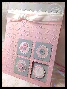 "IMG_1818.jpg (380×500)A Round Array stamp set  129087  (wood) OR 129090 (clear) Pink Pirouette cardstock   111351 Smoky Slate cardstock   Whisper White cardstock    Pink Pirouette Classic Ink Pad   Pretty Print Embossing Folder    Postage Stamp punch  Scallop Edge Border punch  7/8"" Scallop Circle punch  1/2"" Circle punch  Itty Bitty Punch Pack   118309 Dazzling Details Silver Sparkle  Mini Glue Dots   5/8"" Organza Ribbon"