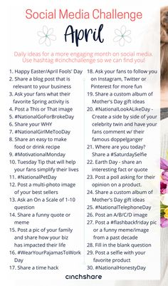 our FREE April Social Media Challenge so you can plan ahead, be consistent and have great engagement all month long! Be sure to share with your teams and use the hashtag we can find you! Social Media Challenges, Social Media Calendar, Social Media Content, Social Media Tips, Social Media Marketing, Affiliate Marketing, Content Marketing, Business Marketing, Calendar 2020