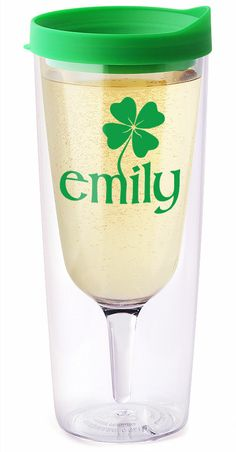 """Get your gear in time for St. Patty's Day!! - Mark your Vino2Go XL with your name and we'll add one, two or three clovers to it (whichever looks the best with your length name). Free monogramming! Apply coupon code """"Kiss me, I'm Irish"""" for 20% OFF!"""