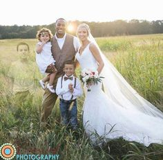 How beautiful the way they put their deceased child in their wedding family picture.