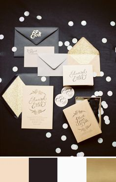 Warm things up by adding nude to this black, white and gold stationery suite. #weddingstationbery #gold #black