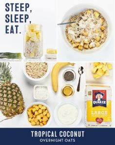 Wake up to a delicious, nourishing morning option, with just a few steps the night before. Enjoy fresh spoonfuls of coconut, mango and pineapple.   More recipe details and tips at OvernightOats.ca