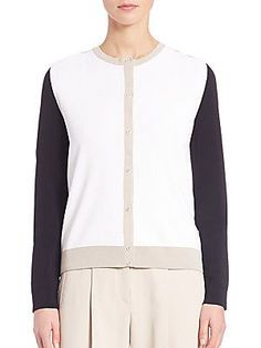 BOSS Fatila Colorblock Knit Cardigan - White Color - Size