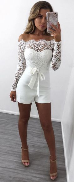 #winter #outfits white lace long-sleeved off-shoulder rompers
