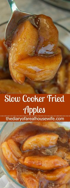 This sweet cinnamon treat is made in your slow cooker and will make your house smell amazing! Slow Cooker Fried Apples, simple to make and a recipe you are going to love. These Slow Cooker Fried Apples Crock Pot Desserts, Apple Dessert Recipes, Slow Cooker Desserts, Fruit Recipes, Easy Desserts, Fall Recipes, Brownie Recipes, Healthy Apple Desserts, Crockpot Dessert Recipes