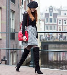 Hi sweeties! Last week, I went to grab a bite with Ellen. And before that she took some photos of my outfit! We were . Houndstooth Skirt Outfit, Black White Fashion, Black And White, Cool Boots, Skirt Outfits, Over The Knee Boots, Fashion Boots, My Outfit, Preppy