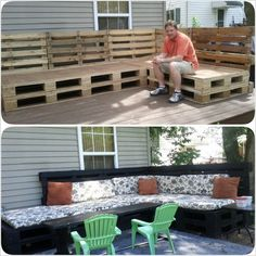Pallet sectional for patio. Pallet Furniture, Garden Furniture, Outdoor Furniture Sets, Couch Furniture, Outdoor Seating, Outdoor Spaces, Outdoor Decor, Pallet Seating, Outside Living