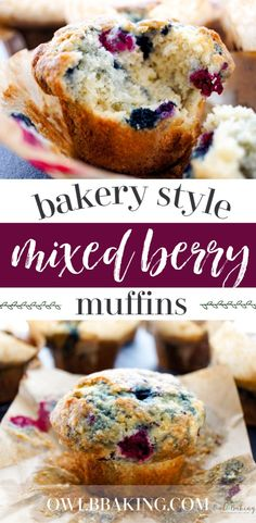 This easy Bakery Style Mixed Berry Muffin recipe makes muffins that are moist fluffy & have NICE hearty tops (the most . Simple Muffin Recipe, Healthy Muffin Recipes, Healthy Muffins, Fruit Muffin Recipe, Muffin Recipies, Breakfast Recipes, Breakfast Muffins, Muffins Sains, Mixed Berry Muffins