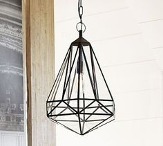 Faceted Indoor/Outdoor Pendant #potterybarn This is the pendant lamp I like the best for Tommy's front porch.  It's an indoor and outdoor light, so he could buy one for his foyer, too.  It will also look good against the gray exterior and brick columns.
