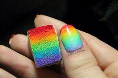 Rainbow nails using sponge