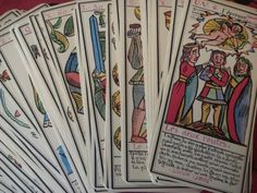 Vintage Set of Le Grand Tarot Belline Tarot. The Grand Tarot Belline Deck was reissued by J. M. Simon, Paris, France, published by the Grimaud Company in 1966 *They were designed by Magus Edmond in the nineteenth century and were first published by Magus Belline.