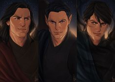 "cocotingo: "" A bit of practice with my favorite warriors, Cassian, Rhysand and Azriel. """