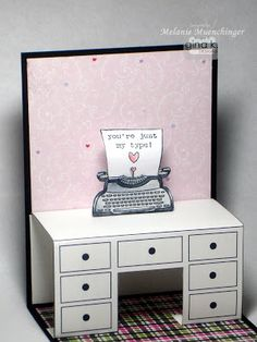 Typewriter (with a real tiny sheet of paper) on pop-up desk ~ by Melanie at Hands, Head and Heart
