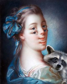 #famous #painting #boucher #lady #raccoon #wild #art #artwork #photomanipulation  A young lady with her best friend.  Portrait of a young lady original painting by Francois Boucher.