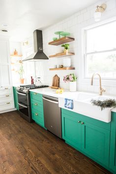 Bold Small Kitchen With Green Cabinets And Slate Liances Low Cabinet