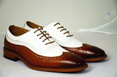 Handmade Men Spectator wingtip Shoes, Men Tan and white Dress Shoes, Men Shoes #Handmade #WingTip #Formal