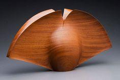 """Wood, Grant Vaughan, Artist, Split Form #3, Australian Red Cedar,   ht 34 x 64 x 14cm, 13.5"""" x 25"""" x 5.5"""""""